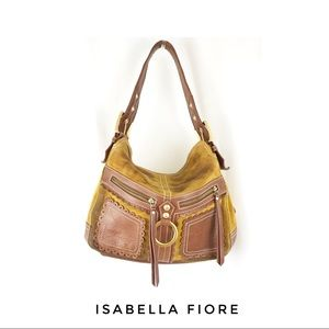 Isabella Fiore Leather Brown Suede Shoulder Bag